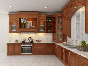 Tủ bếp Gõ đỏ bán cổ điển